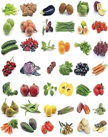 Mural of fruits and vegetables surrounded by white background photo