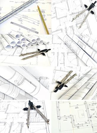 topografo: Mural de los planes de vivienda rodeados de fondo blanco Foto de archivo