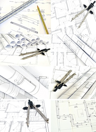 construction draftsman: Mural of plans for housing surrounded by white background Stock Photo