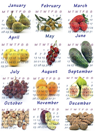 Calendar year 2013 with seasonal fruits Stock Photo - 13243860