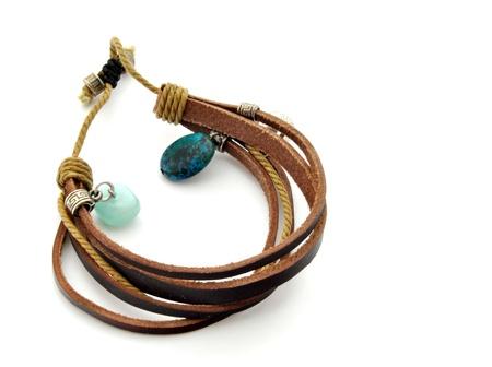 cuff bracelet: Leather bracelet surrounded by white background