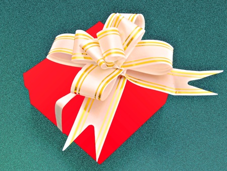 Red gift box with a bow photo