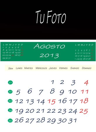 Calendar of August 2013, with space to put the picture Stock Photo - 13586034