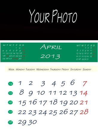 画像を配置するスペースで、2013 年 4 月のカレンダー