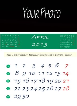 Calendar of April 2013, with space to put the picture photo