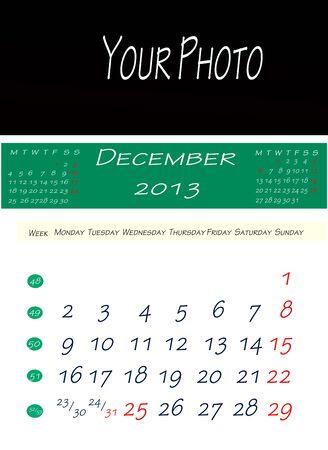画像を配置するスペースで、2013 年 12 月のカレンダー 写真素材