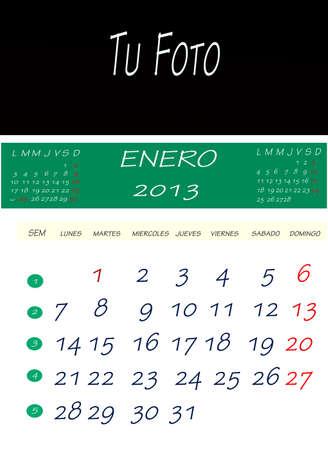 画像を配置するスペースで、2013 年 1 月のカレンダー