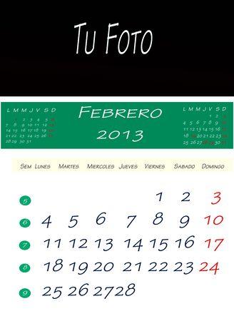 画像を配置するスペースで、2013 年 2 月のカレンダー
