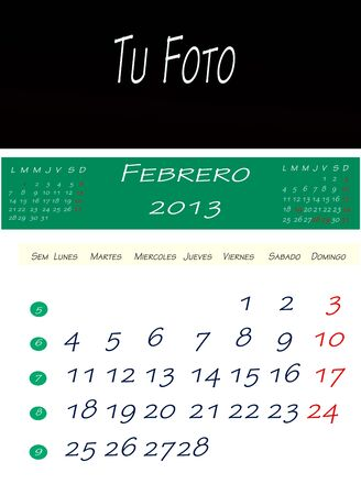 Calendar of february 2013, with space to put the picture photo