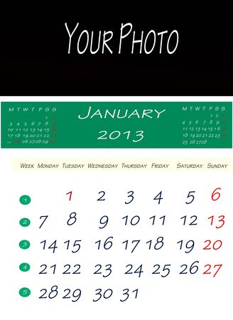 Calendar of january 2013, with space to put the picture photo