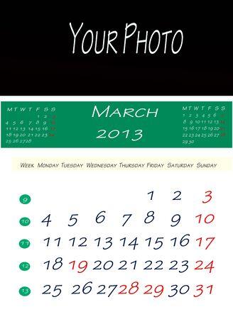 画像を配置するスペースで、2013 年 3 月のカレンダー 写真素材