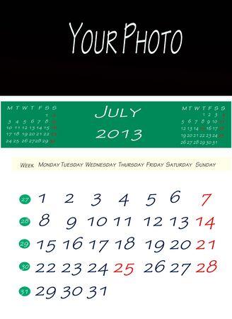 画像を配置するスペースで、2013 年 7 月のカレンダー