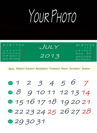 Calendar of july 2013, with space to put the picture photo