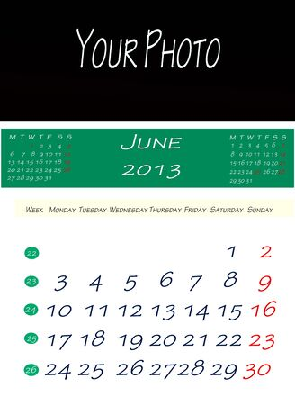画像を配置するスペースで、2013 年 6 月のカレンダー