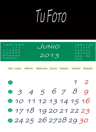 Calendar of june 2013, with space to put the picture photo