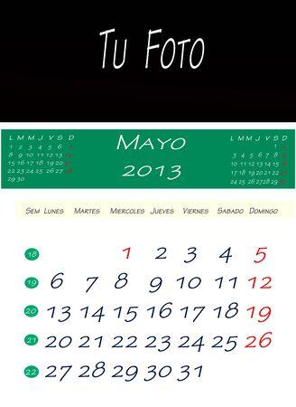 画像を配置するスペースで、2013 年 5 月のカレンダー