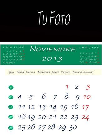 画像を配置するスペースで、2013 年 11 月のカレンダー