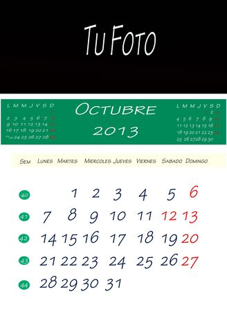 Calendar of october 2013, with space to put the picture Stock Photo - 13586025