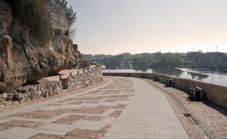 zamora: Paved road by the river Duero in Zamora