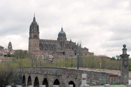 View of the Cathedral of Salamanca from the Roman bridge that crosses the river Tormes