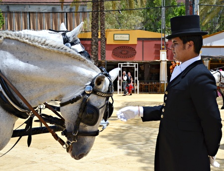 Caring man on horseback, at the fair in Jerez Stock Photo - 13601871