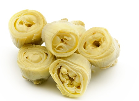 Canned artichokes surrounded by white background