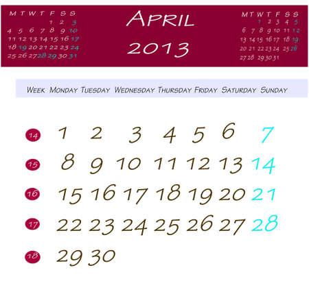 Calendario de abril 2013 Foto de archivo - 13769117