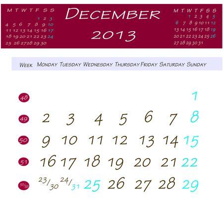 2013 年 12 月のカレンダー