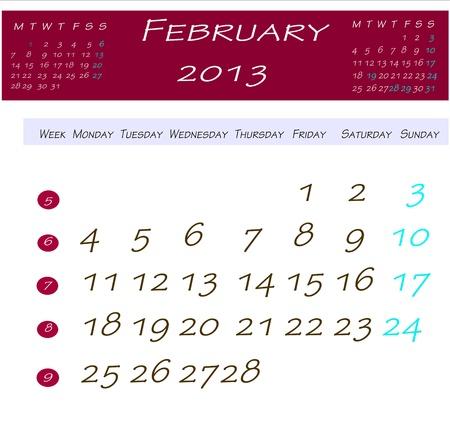 2013 年 2 月のカレンダー