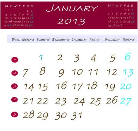 2013 年 1 月のカレンダー