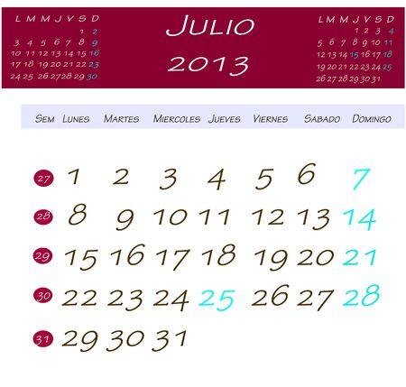 2013 年 7 月のカレンダー
