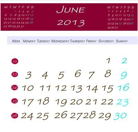 2013 年 6 月のカレンダー