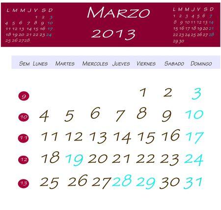 2013 年 3 月のカレンダー 写真素材
