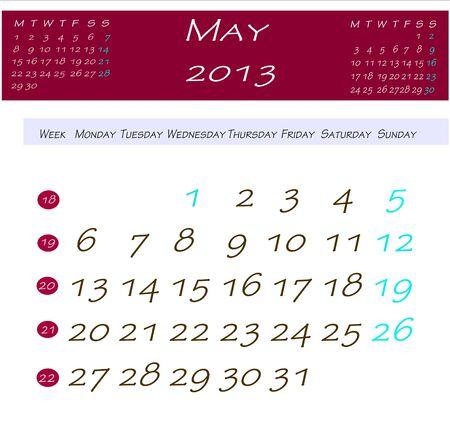 5 月 2013年カレンダー 写真素材