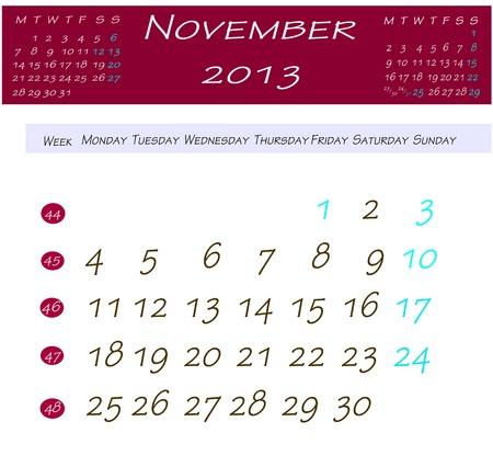 2013 年 11 月のカレンダー