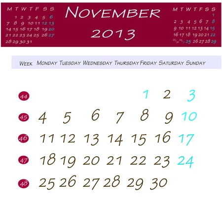 Calendar for november 2013 photo
