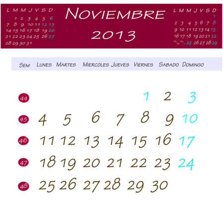 Calendar for november 2013 Stock Photo - 13769130