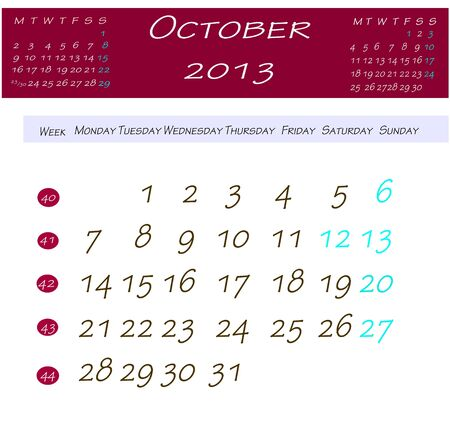 Calendar for october 2013 Stock Photo - 13769128