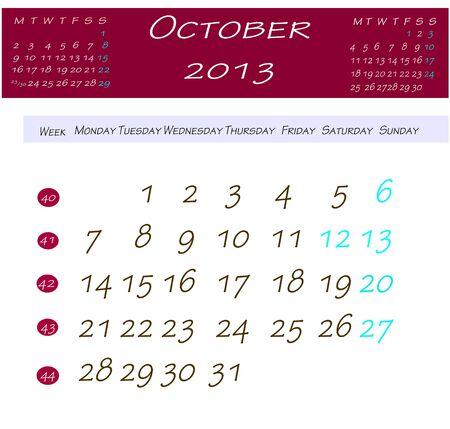 Calendar for october 2013 Stock Photo - 13769128