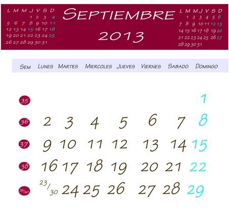 9 月 2013 年のカレンダー