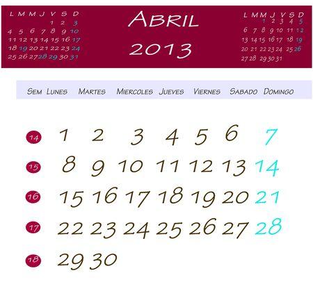 2013 年 4 月カレンダー
