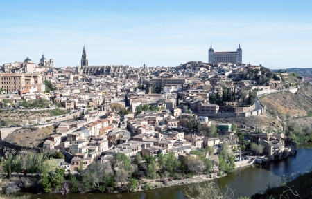 View of the Spanish city of Toledo, seen from the Gothic cathedral of Santa Maria and the alcazar, in a structure of medieval city Stock Photo - 13801373