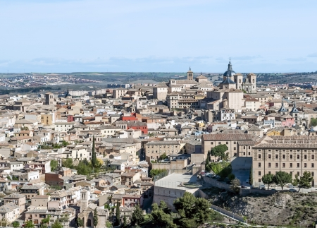 View of the Spanish city of Toledo, seen from the Gothic cathedral of Santa Maria and the monasteries, in a structure of medieval city Stock Photo - 13801374