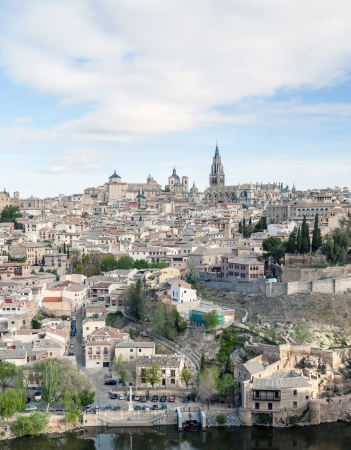 View of the Spanish city of Toledo in vertical, seen from the river to the Gothic cathedral of Santa Maria, surronded by houses Stock Photo - 13801370
