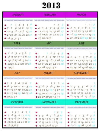 Calendar year 2013, which shows every month Stock Photo - 13921676