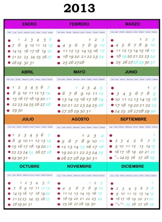 Calendar year 2013, which shows every month Stock Photo - 13921664
