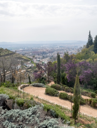 Way into a garden of Granada, with the city in the background photo