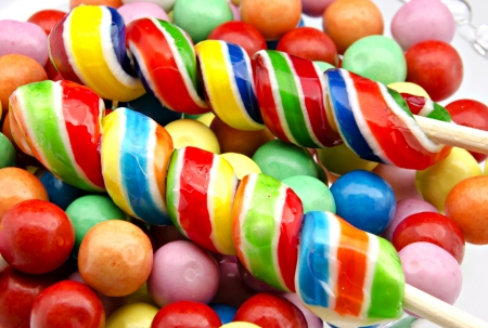 Gumball background colors, with two lollipop Stock Photo - 14036502