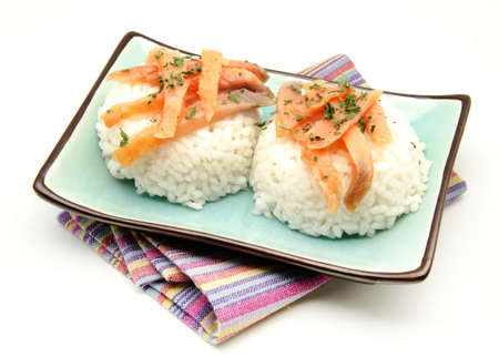 White rice with smoked salmon photo