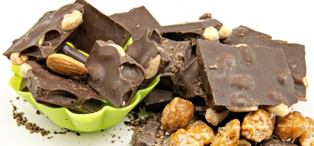 azucar: Delicious chocolate with almonds on white bottom Stock Photo
